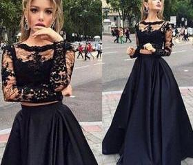 Black Two Piece Prom Dress