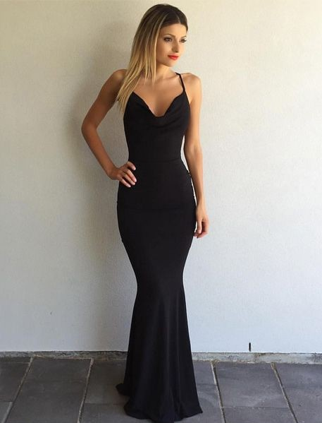 2017 Black Prom Dress Sexy Spaghetti Strap Prom Dress Cross Back