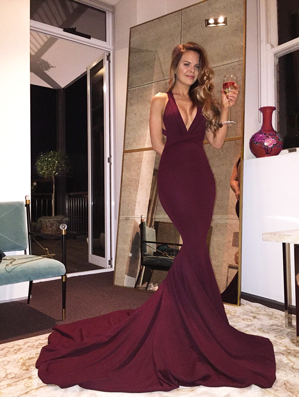 Gorgeous V-neck Long Mermaid Prom Dress With Train, Burgundy Long ...