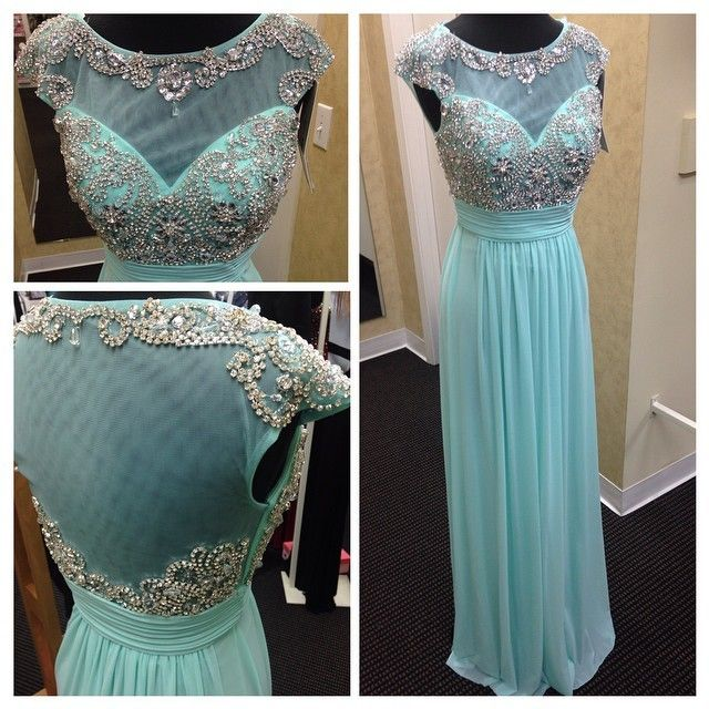 82be704e9302 Mint Green Chiffon And Tulle Boat Neck Cap Sleeve A Line Floor Length Beaded  Long Formal