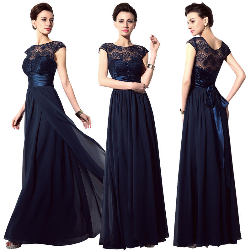 702c0c84dfec57 Cap Sleeve Navy Blue Chiffon Prom Dress