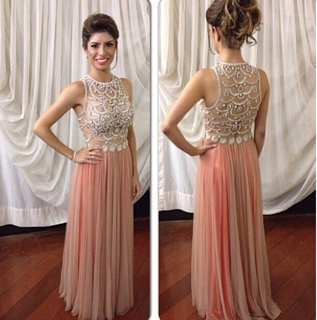Custom Made A Line Chiffon Prom Dress With