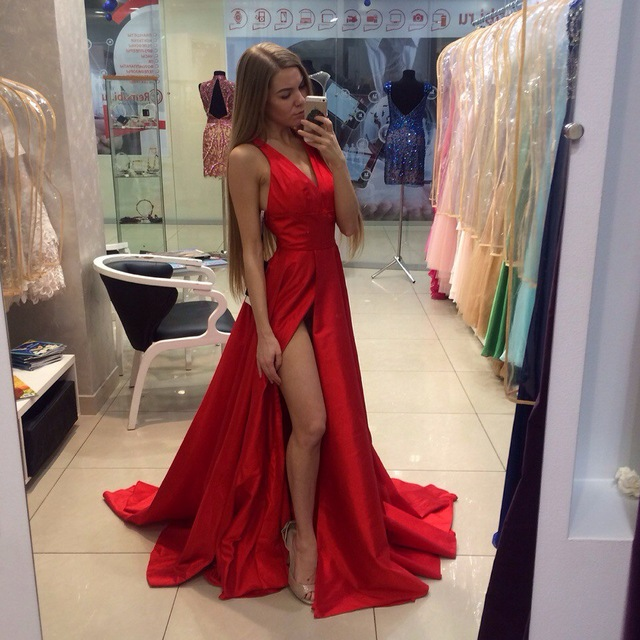 Real Sexy Cheap Front Split Prom Dresses 201d4e7e9