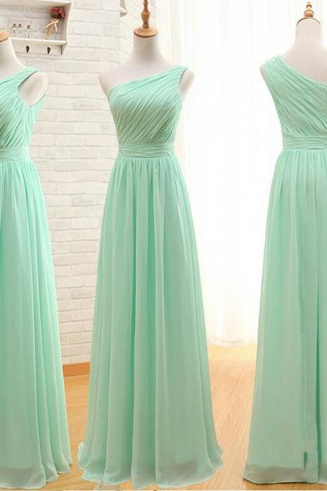 Floor Length One Shoulder Mint Green Bridesmaid Dress