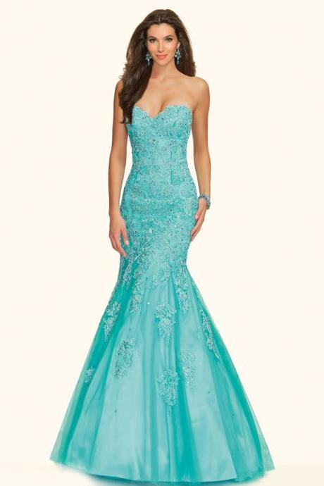 Hunter Green Prom Dresses, Sweetheart Evening Gowns, New Arrival Party Dresses, Backless Evening Dresses, Appliques Formal Dresses, Backless Party Dresses, Mermaid Special Occasion Dresses