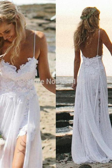 2015 New Chiffon Bridesmaid Dresses Boho White Beach Low Back Wedding Dresses Gowns Chiffon Dreamy Spaghtti Straps Slit Short Lace In Front