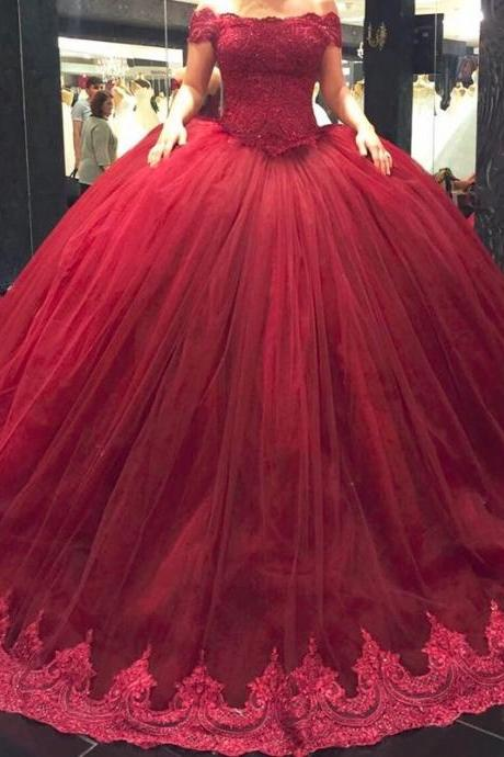 2017 Burgundy Ball Gown Wedding Dresses Short Lace Straps Off Shoulder Princess Wedding Dress Plus Size vestidos de novia