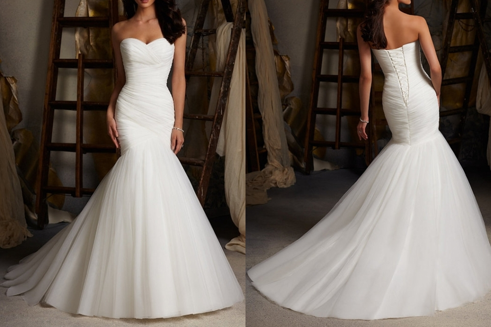 White/Ivory Mermaid Wedding Dresses, Organza Bridal Gown